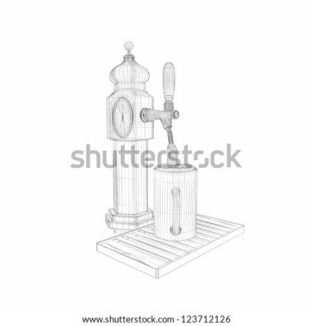 Draught beer isolated on white background