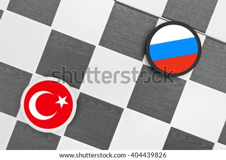 Draughts (Checkers) - Turkey vs Russia  - stock photo