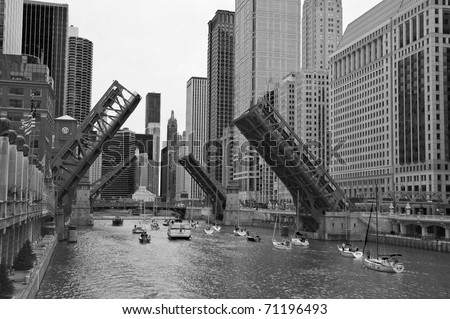 Draw Bridges On The Chicago River - stock photo