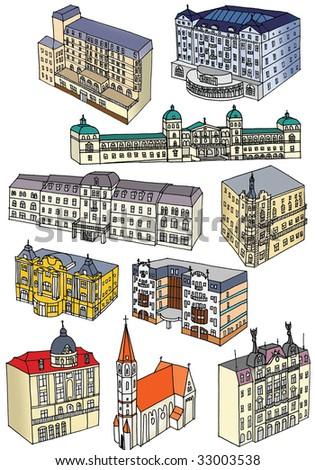 draw buildings - stock photo
