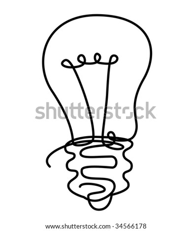 draw illustration of light bulb from solid line - stock photo