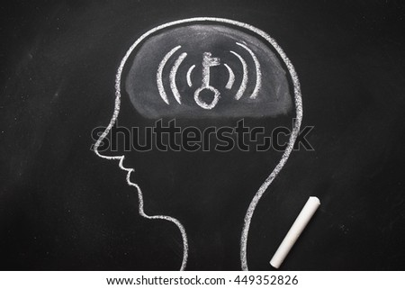 Draw the shape of a human head on the blackboard ( wifi password  in the brain ) - stock photo