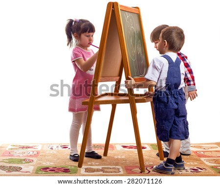 draw with chalk on a blackboard white background - stock photo