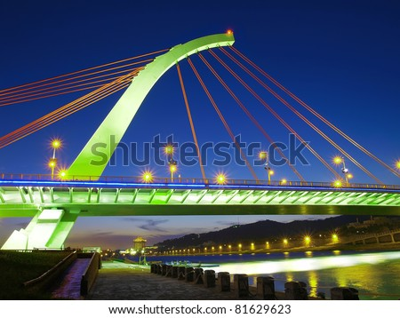 Drawbridge and river in evening - stock photo