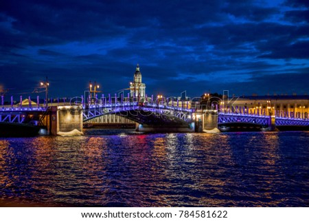 Drawbridges of St. Petersburg, photo shot at night