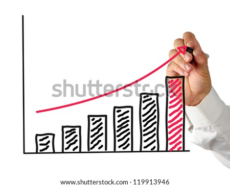 Drawing a chart - stock photo