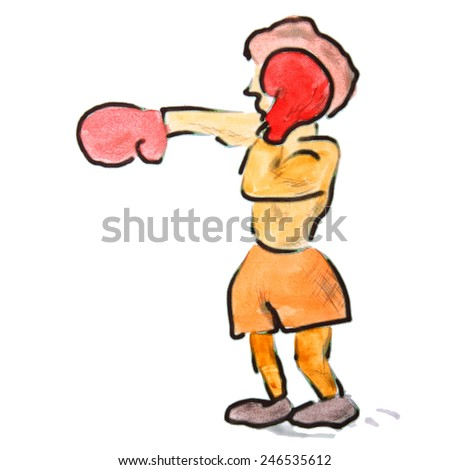 drawing a children watercolor cartoon boxer on a white background - stock photo