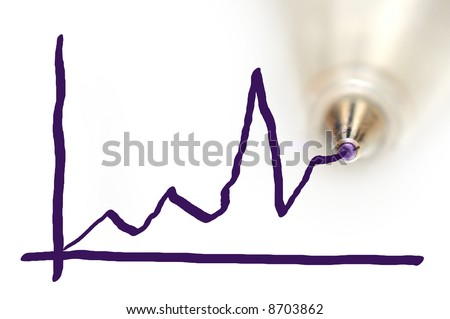 Drawing a graph with a ball-point pen on whiteboard - stock photo