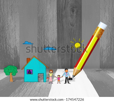 drawing a house with pencil - stock photo