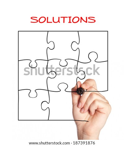 drawing a puzzle - stock photo
