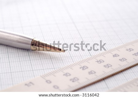 drawing a sketch, calculating - stock photo