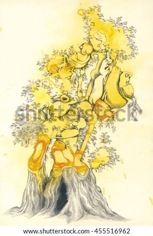 Drawing and Painting Artistic Illustration of Fantasy Tree of Dreams - stock photo