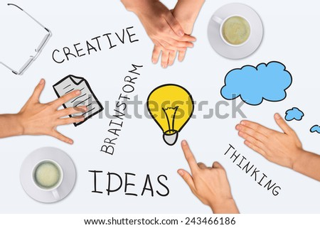 Drawing and photo collage expressing concept of creative ideas, on white background - stock photo