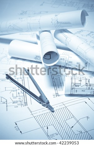 Drawing and various tools - stock photo