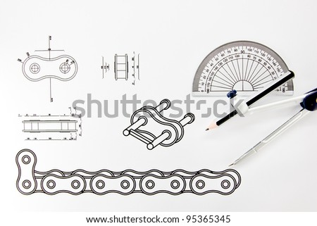 Drawing Bicycle chain. - stock photo