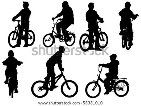 drawing bicycle children races leisure - stock photo