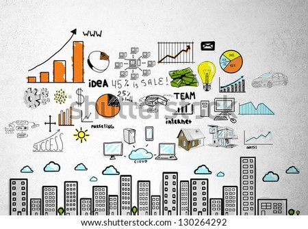 drawing business concept on wall - stock photo