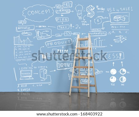 drawing business concept on wall with wooden  ladder - stock photo
