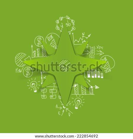 Drawing business formulas: compass - stock photo