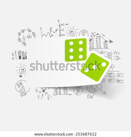 drawing business formulas. dice - stock photo