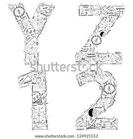 drawing business strategy plan concept idea of alphabet letters, ( y z 1 2 ) isolated on white With Jpeg Version - stock photo