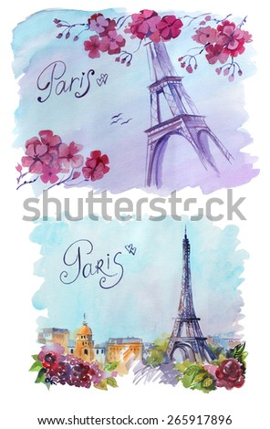 drawing by hand on wright paper beautiful background with Paris. Watercolor illustration with Eiffel Tower, view of the city with high and many beautiful flowers. inscription by hand.  - stock photo