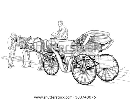 Drawing carriage with a horse and two men - stock photo