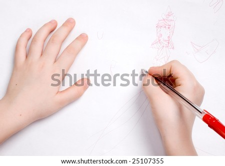 drawing child hands - stock photo