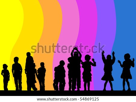 drawing child in rainbow. Silhouette of people - stock photo