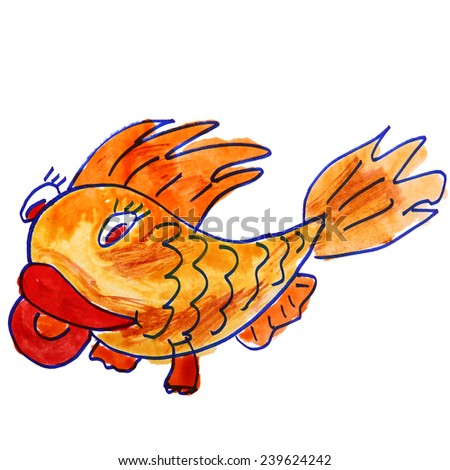drawing children watercolor cartoon fish on a white background - stock photo