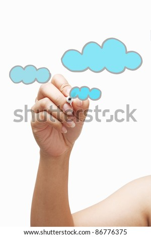 Drawing cloud - stock photo