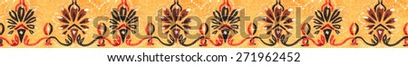 Drawing color seamless border.Decorative pattern frame - stock photo
