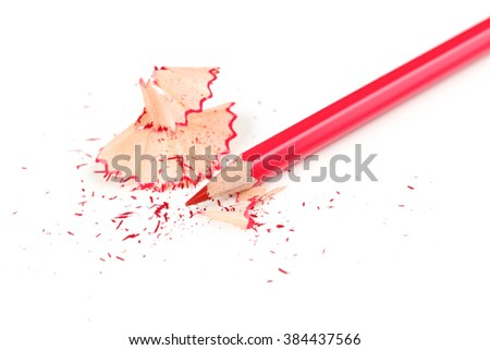 Drawing colourful pencil on a white background, close up - stock photo