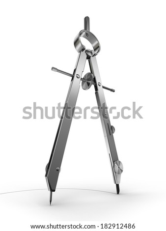 drawing compass on white background. clipping path included - stock photo