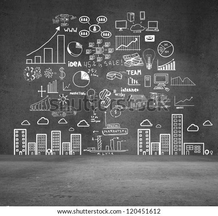 drawing concept city on gray wall - stock photo