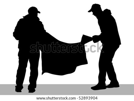 drawing demonstrator with banner - stock photo
