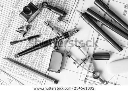 Drawing desk with tools for drawing - stock photo