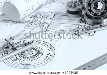 Drawing detail and drawing tools with bearing - stock photo
