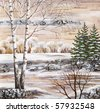 Drawing distemper on a birch bark: the Siberian winter lake - stock photo
