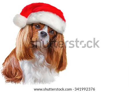 Drawing dog Cavalier King Charles Spaniel, portrait Santa Claus red hat, Christmas and New Year