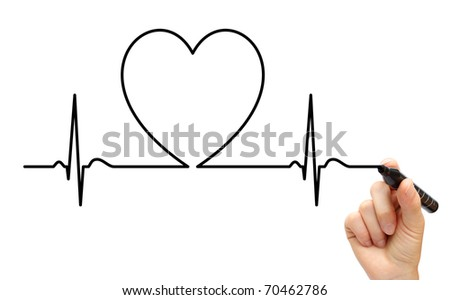 Drawing ECG line - stock photo