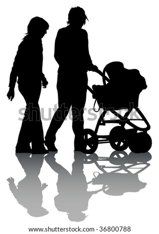 drawing families with children. Silhouettes on a white background