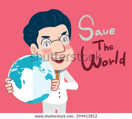 Drawing flat character design save the world concept ,vector illustration