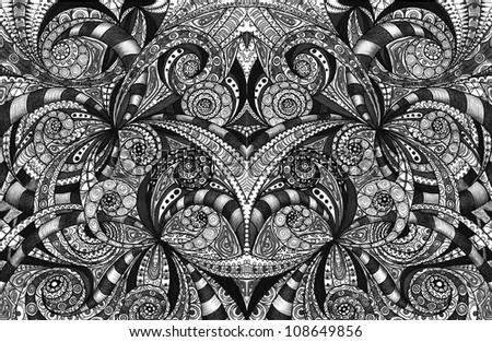 Drawing floral abstract background - stock photo