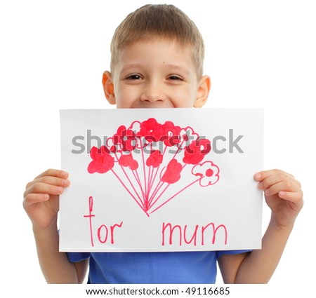 Drawing for mum on a moter's day - stock photo