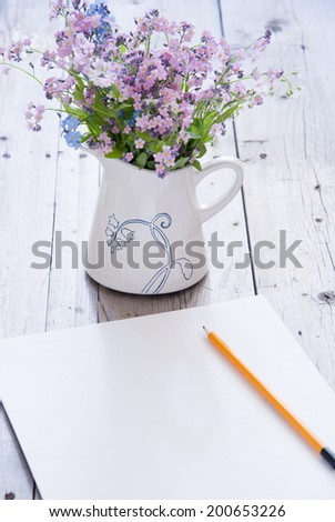 Drawing Forget-Me-Not - stock photo