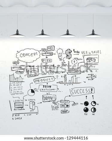 drawing global concept on brick wall - stock photo