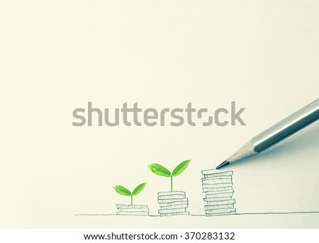 "drawing "" growing plant on row of coin money with pencil "" for money concept - stock photo"