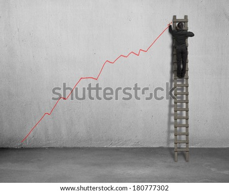 Drawing growing red trend on concrete wall with wooden ladder - stock photo