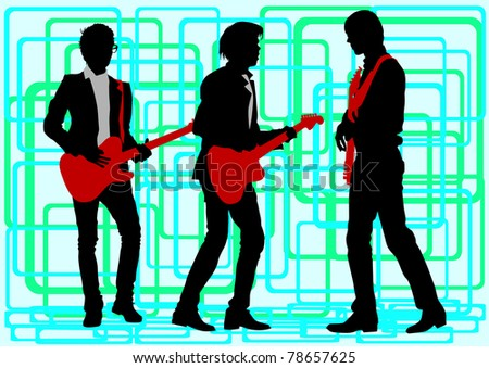 drawing guitar. Silhouette on green background - stock photo